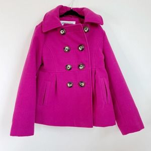 LONDON FOG Girls Pink Pea Coat Children's 7/8 Hood
